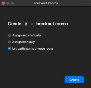 """Zoom-meny för att välja fördelning av deltagarna till breakout rooms. Välj bara """"Let participants choose rooms"""". Glöm inte at klicka på kugghjulet nere till vänster för att ge rummen namn som förenklar valet."""