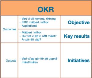 I målstyrningsmetoden OKR delas målen upp i Outcomes som i sin tur delas upp i Objectives som beskriver vartåt vi vill komma, en riktning, som inte är mätbart i siffror och som ska vara utmanande. Den andra delen är Key Results som ska vara mätbart i siffror och hjälpa oss att se om vi är på rätt väg mot målet eller till och med har nått ända fram. Den andra delen är Outputs som handlar om vilka initiativ vi behöver ta, vad vi behöver göra för att komma närmare att uppfylla målen.
